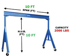 VESTIL FIXED GANTRY CRANE - 1 TON CAPACITY, SPAN 10 FT, HUB 10 FT