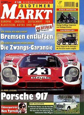 Bücher Zeitschriften RüCksichtsvoll Oldtimer Markt 2003 6/03 Ami 6 Clement-gladiator Fiat 1100 Horex Imperator Jawa Perfekte Verarbeitung