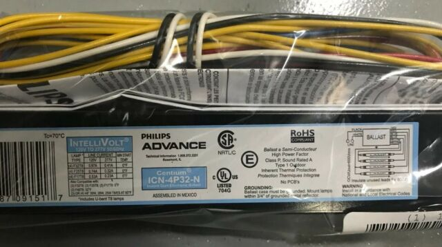Advance ICN-4P32-N Instant Start Electronic Ballast 120V to 277V 10 Pack New