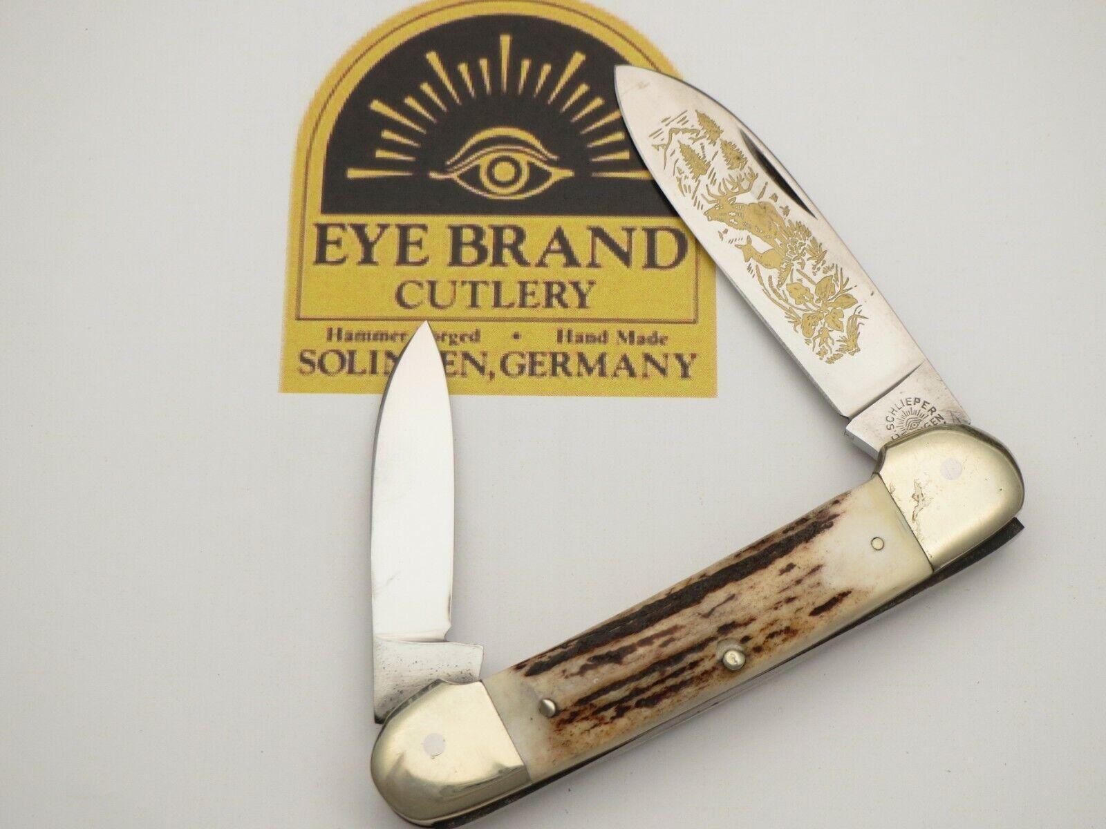 Vintage EYE BRAND Solingen Scarce Canoe Pocket Knife Stag Handles Unused N Mint
