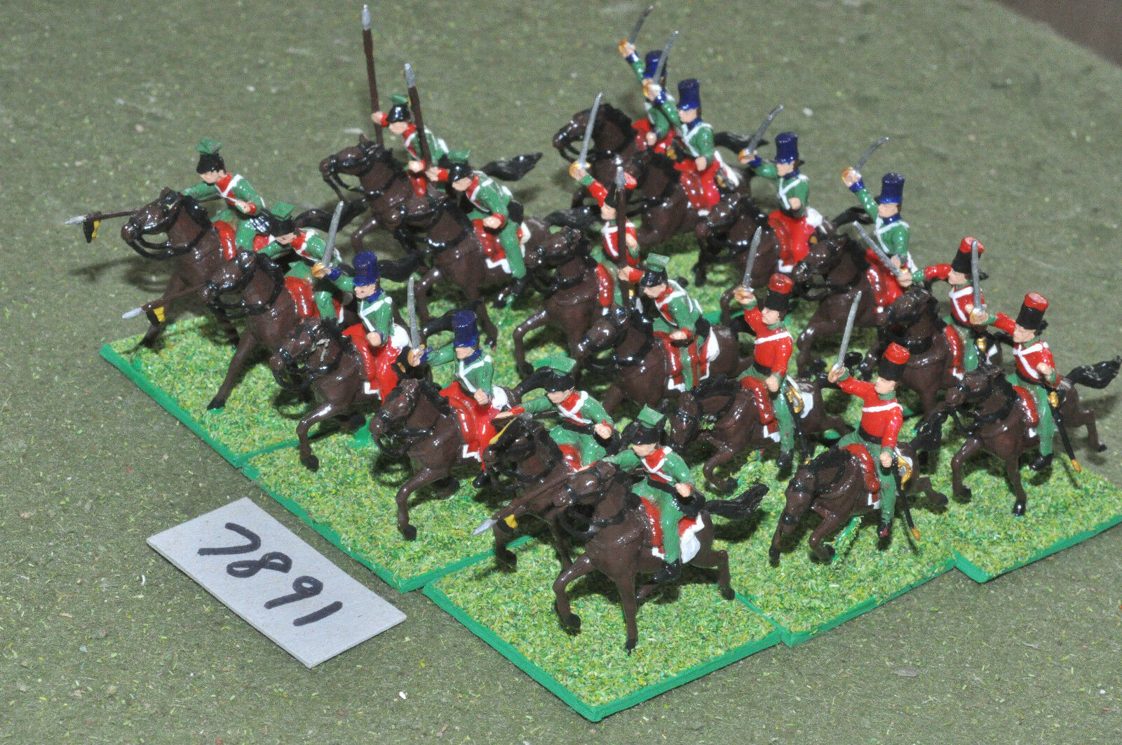 20mm napoleonic   french - cavalry plastic 18 painted - cav (7891)