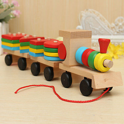 Funny Wooden Train Solid Wood Stacking Toddler Car Kid Baby Educational Toy Gift