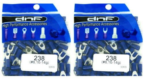 200 PACK 16-14 GAUGE AWG BLUE SPADE FORK INSULATED ELECTRICAL TERMINALS #8