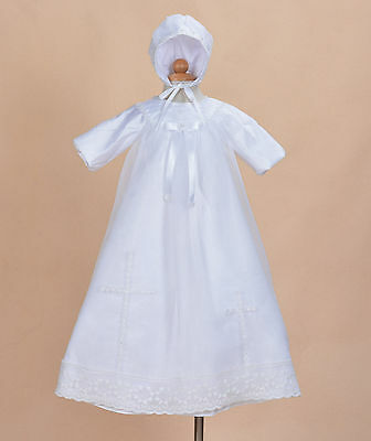 Traditionell Weiß Satin Lang Taufkleid mit Bonnet 0 3 6 9 12 Monate
