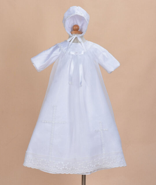 5a8466224 Traditional White Satin Long Christening Gown with Bonnet 0 3 6 9 12 Months