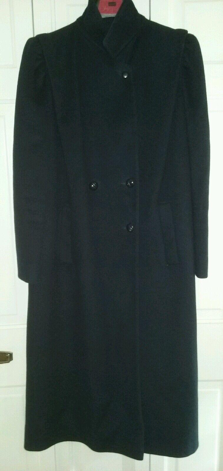 Vintage Marshall Fields Women's Medium Elegant Long Dressy Coat 100% Wool Navy