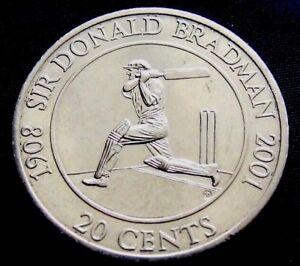 Australia 2001 Sir Donald Bradman 20 Cent Unc