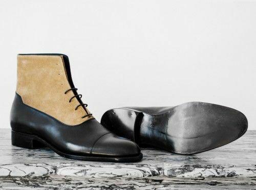 botas para hombre hecho a mano dos tonos de marrón y negro de cuero al tobillo con Cordones de Zapatos Ropa Formal