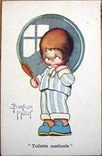 1930s Beatrice Mallet/Artist-Signed Postcard: Girl & Hand Brush, Mirror
