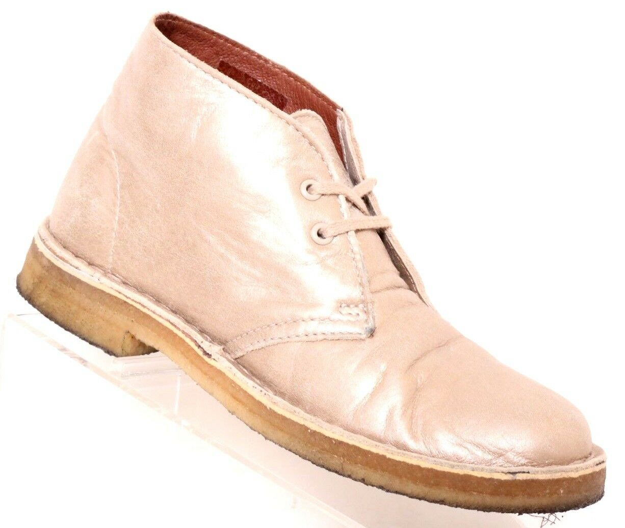 Clarks Originals gold Metallic Leather 2-Eye Crepe Sole Desert Boot Womens US 6M