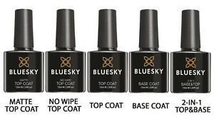 Bluesky Gel Nail Polish Soak Off Base Coat Matte No Wipe Top Coat ...