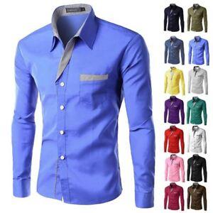 Hombre-Formal-Negocios-Camisas-Entallado-Vestido-Manga-Larga-Camisas-Tops