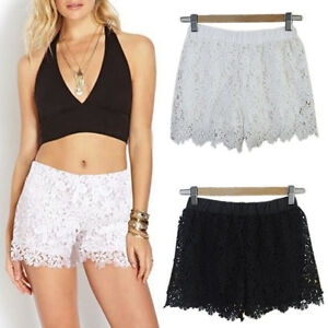Lace-Crochet-Shorts-Tiered-Pants-Sweet-Skorts-Womens-Fashion-S-M-L-Black-Skirt