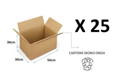 25 SCATOLE DI CARTONE  MONO ONDA AVANA NEUTRA 50x30x30 IMBALLAGGIO e TRASLOCO