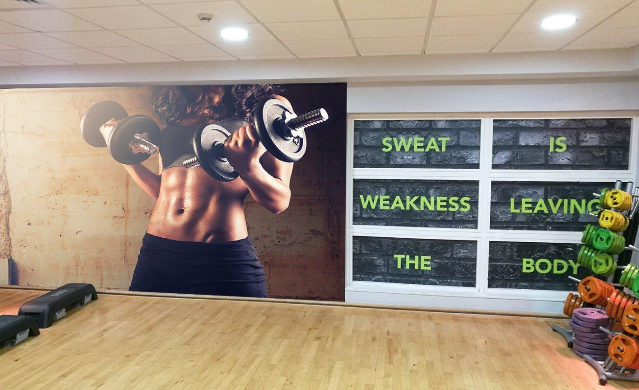 Fitness Gym Weights Workout Wallpaper Woven Self-Adhesive Wall Mural Art M75