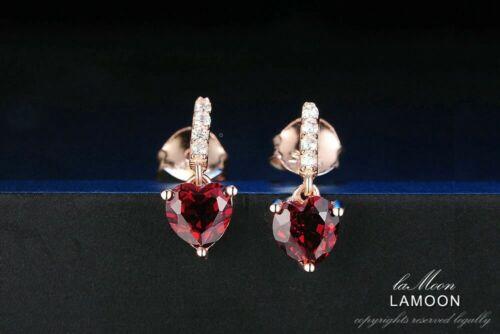 0.6ct Heart Natural Red Garnet 925 Sterling Silver Drop Earrings UK Seller