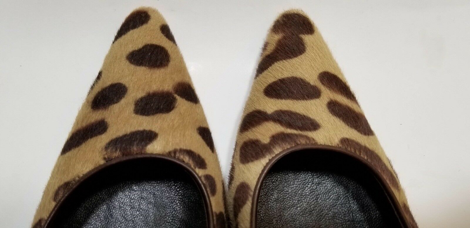 Ralph Lauren Collection 6.5 Sarina Heel Leather Leather Leather Pony Hair Leopard braun  8dd424