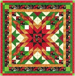 Ezy Quilt Kit/Christmas Star/Pre-cut Fabrics Ready To Sew/QUEEN!****