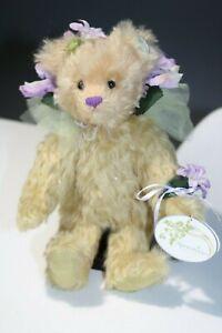Knickerbocker-Mohair-Jointed-Bear-10-034-Flower-Bear-NWT-Tan-and-Purple