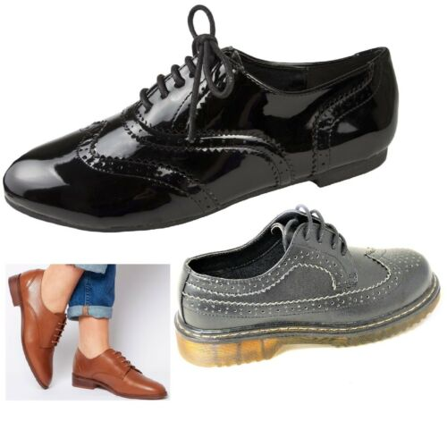 WOMENS LADIES GIRLS SMART OXFORD BROGUE FLAT LACE UP  PUMPS SHOES SIZE 3-8