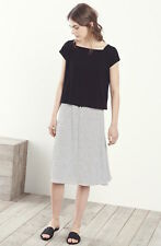 Eileen Fisher New Black & White Organic Linen Jersey Stripe Skirt 2X $218
