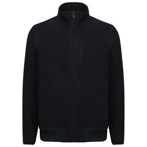 Mens-Ex-M-amp-S-Fleece-Jacket-Warm-Comfortable-Textured-Navy-Zip-Fleece-Lined