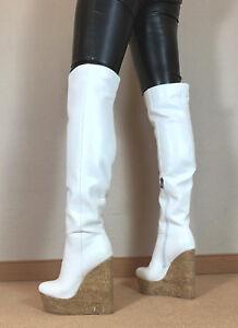 Gr-42-TOP-Exklusiv-Sexy-Damen-Schuhe-Overknee-Wedges-Stiefel-Maenner-Boots-D7