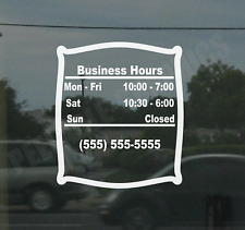 Business Custom Window Door Glass Store Hours Vinyl Decal Sign Sticker Style 2