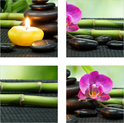 Fliesen-Aufkleber Fliesen-Bild Orchideen Steine Kerzen Bambus Wellness SPA Deko