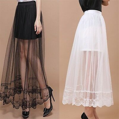 Sexy Womens Gauze See-Through Mesh Tulle Lace Gothic Sheer Long Maxi Skirt Dress