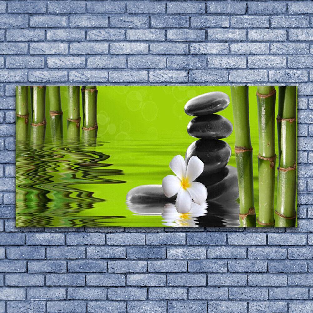 Impresión de arte de Pared de Vidrio Imagen De Tubo Imagen 140x70 Tubo De de Bambú Flor Piedras Arte 41f189