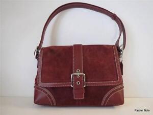 Coach-Purse-Handbag-Shoulder-Bag-Satchel-Sz-M-Wine-Suede-Leather-Handle-Buckle