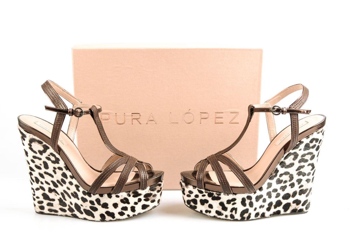 chaussures Zeppe Pura Lopez Sandals chaussures Pelle femmes marron AD227