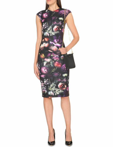 Ted Dress Raisie Baker Print 0 Black 6 Floral Bodycon Shadow Pencil Midi Party rprWnacq