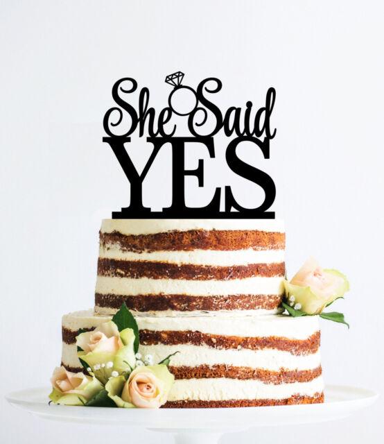 She Said Yes Cake Topper Wedding Cake Decorations Bridal Shower