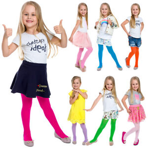 Girls-Thin-Tights-Breathable-Many-Colours-Soft-Comfy-Cozy-Children-Age-1-12-6002