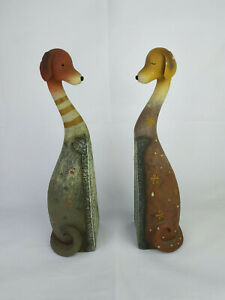 Vintage-Bookend-Ceramic-Dog-Style-Pair-Of-Bookends-Decor-Art