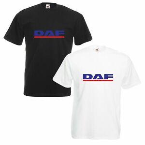 T-shirt-DAF-Camion-Camionista-Trucker-Maglietta-Maglia-Bianco-Nera-Uomo
