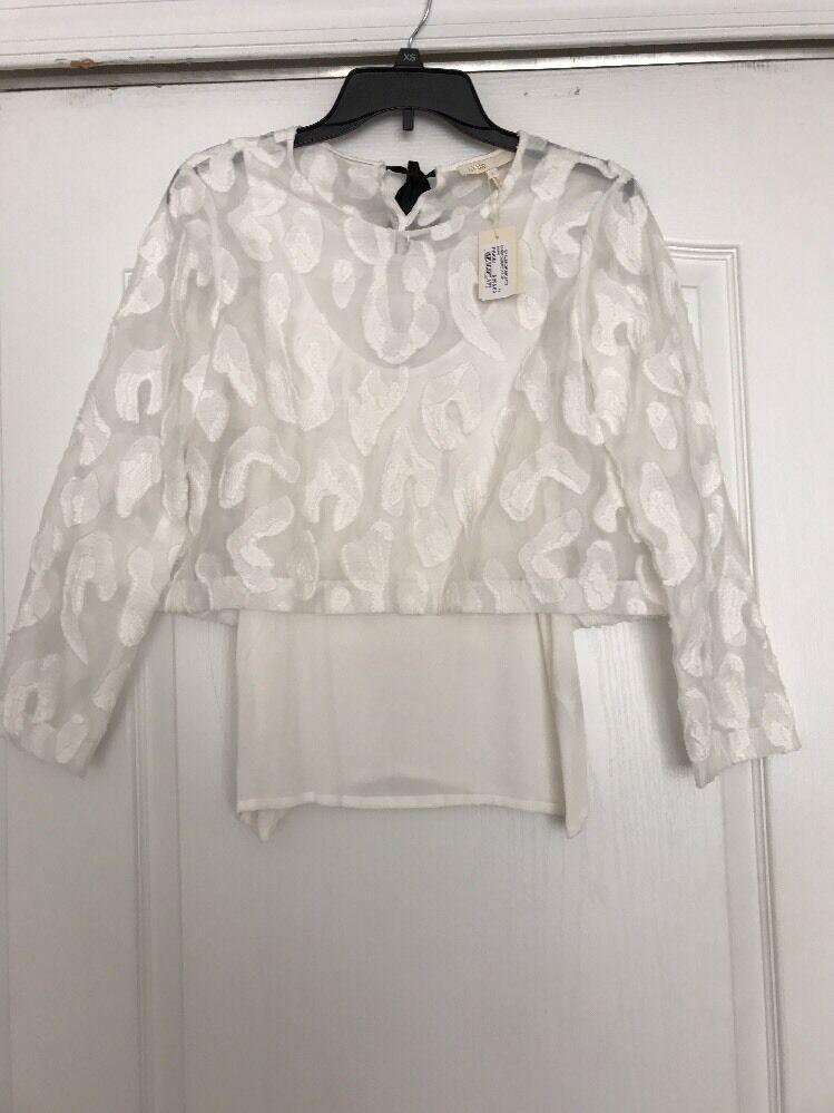 Maje Weiß Lace Embroiderot Lendra Top T1 Sz1 NWT