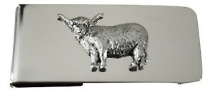 Highland-Cow-Money-Clip-Silver-Plated-with-Solid-Pewter-Emblem-Farming-Gift-Mens