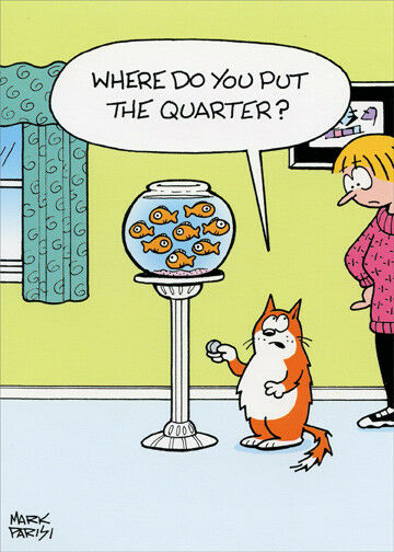 Cat With Quarter At Goldfish Bowl Oatmeal Studios Funny Birthday Card For Sale Online