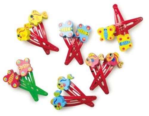 Mollette//fermagli colorate per i capelli per bambina in legno e plastica