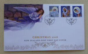 2016-NEW-ZEALAND-CHRISTMAS-SET-OF-3-STAMPS-PEEL-amp-STICK-FDC-FIRST-DAY-COVER