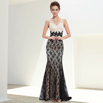 Women's V-neck Lacey Fishtail Long Evening Prom Party Dress 08535 US Seller