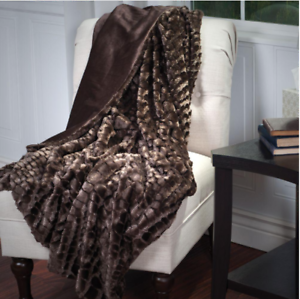 Brown Minky Faux Fur Mink Throw Blanket, Plush, Warm, Soft, Fleece, Minky, Sofa