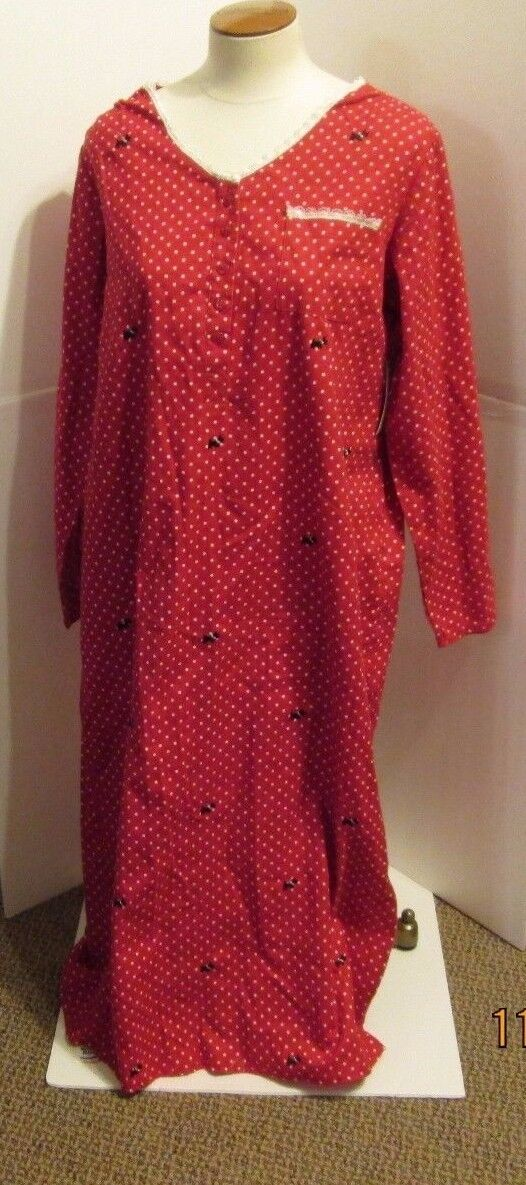 LAURA SCOTT  LARGE FLANNEL PAJAMAS PJS NWT SCOTTIE DOGS GOWN ROBE RED WOMENS +