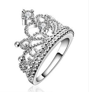 wholesale dealer 26016 866a9 Dettagli su Anello a forma di corona ricoperto di brillantini di cristallo  colore argento /