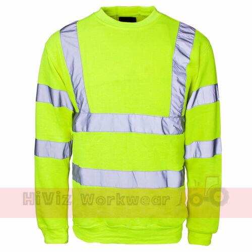Hi Viz Crew Round Neck Safety Swearshirt Mens Visability Work Security Jumper