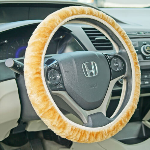 """Fuzzy Steering Wheel Cover Elastic Stretch Plush Tan Universal Fit 14/"""" 16/"""" NEW"""