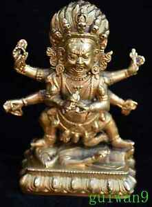 Souvenir-Tibet-Chinese-Old-Art-Ancient-Miao-Silver-Carve-Nepal-Buddha-Statue